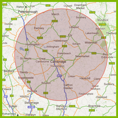Anglian High Access – map of area for cherry picker hire around Cambridge